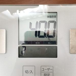 体脂肪40%の表示の体重計