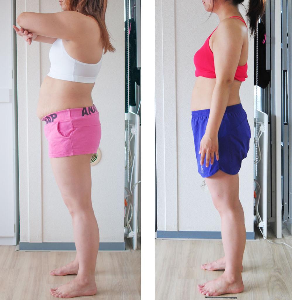 ダイエット2か月目の金延さえの横向き比較