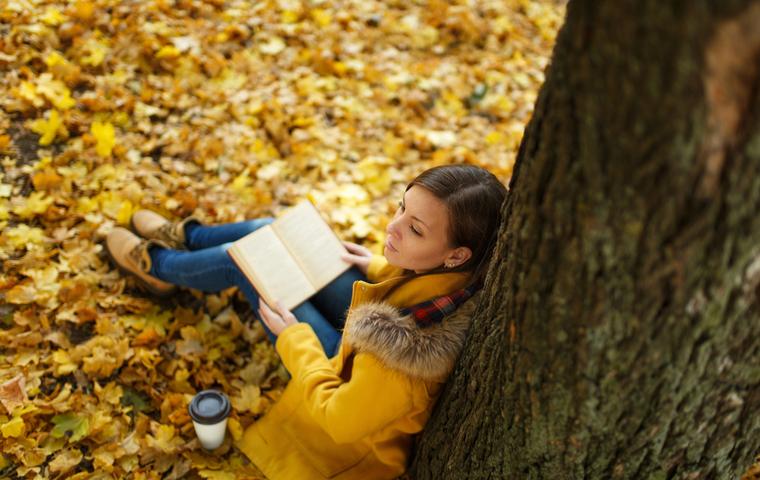 落ち葉の上に座って本を読む女性
