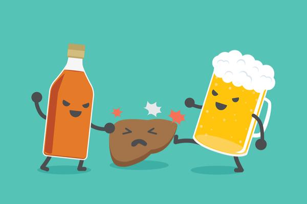 肝臓をいじめるお酒の絵