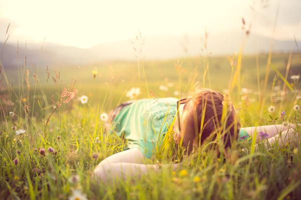 草原に寝転ぶ人